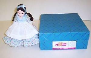 "Madam Aiexander Doll Miss Argentina 8"" tall Black hair dressed in Blue Print"