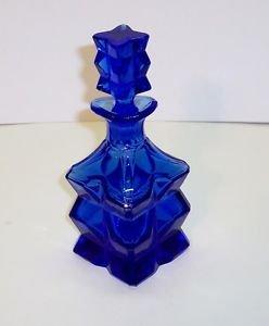 Cobalt Blue Czechoslovakain Perfume Bottle Art Deco Sz 7.25H