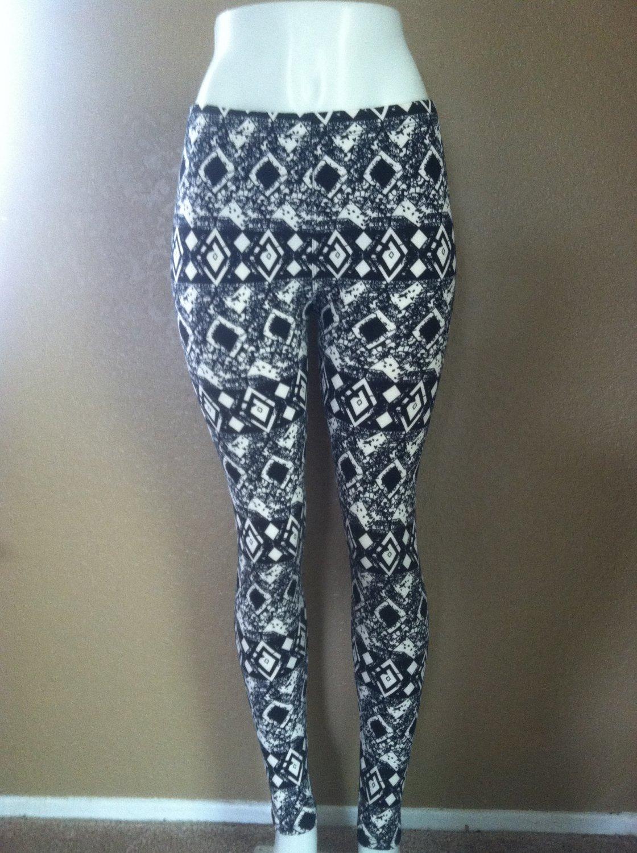 Tribal Black & White Aztec Print Leggings by Cali West Boutique