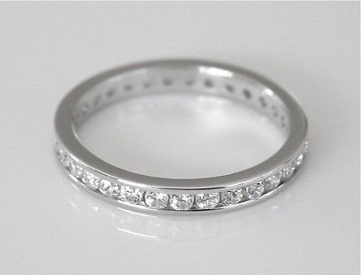 2.5MM STERLING SILVER CHANNEL SET ROUND CUT CZ ETERNITY RING SIZE S *IMPERFECT*