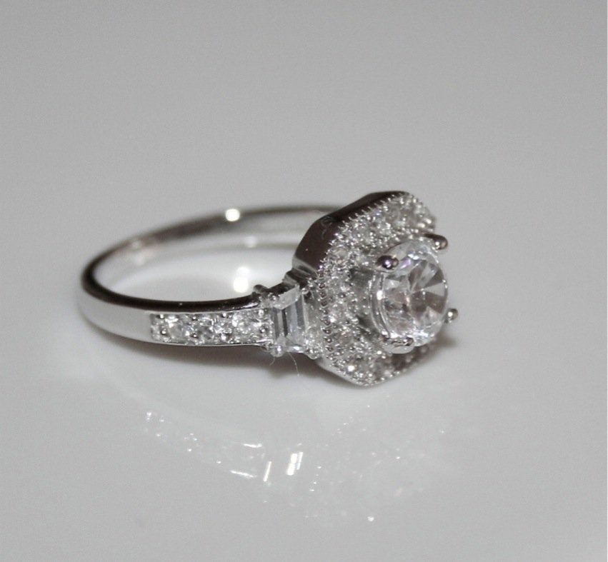 STERLING SILVER 5MM 0.50CT SOLITAIRE CZ ART DECO STYLE RING