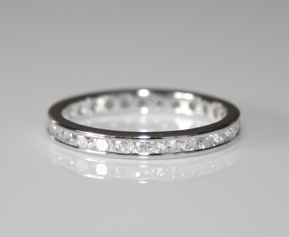2.2MM STERLING SILVER ROUND CUT CZ FULL ETERNITY RING SIZE