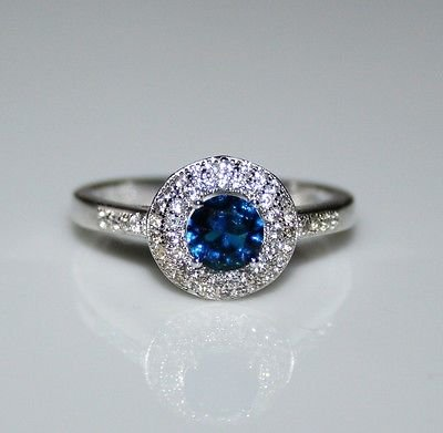 STERLING SILVER 5MM 0.50CT SAPPHIRE CZ SOLITAIRE RING SIZE Q 1/2