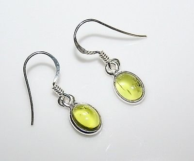 HANDCRAFTED STERLING SILVER 8MM X 6MM PERIDOT SMALL OVAL DROP EARRINGS