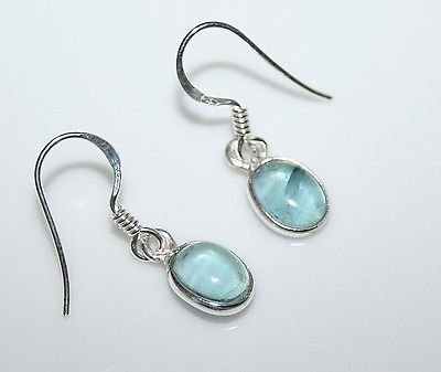 HANDCRAFTED STERLING SILVER 8MM X 6MM APATITE SMALL OVAL DROP EARRINGS