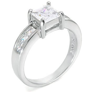 STERLING SILVER 6MM 1.3CT PRINCESS CUT CZ SOLITAIRE RING (SIZES N - P)