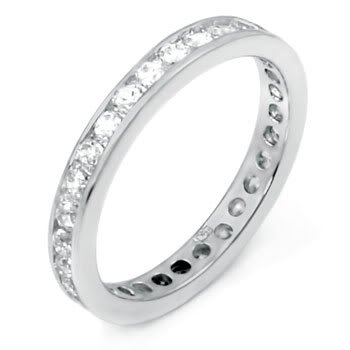 STERLING SILVER 2MM 0.3CT ROUND CUT CZ FULL ETERNITY RING SIZE S 1/2 *IMPERFECT*