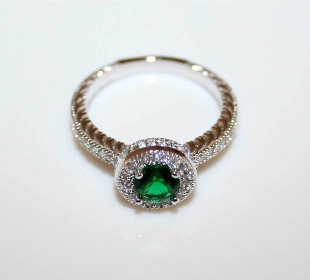 STERLING SILVER 5MM 0.50CT EMERALD CZ MICRO SET SOLITAIRE RING