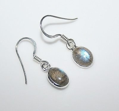 HANDCRAFTED STERLING SILVER 8MM X 6MM LABRADORITE SMALL OVAL DROP EARRINGS