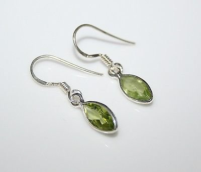 HANDCRAFTED STERLING SILVER 9MM X 4.5MM MARQUISE PERIDOT SMALL DROP EARRINGS