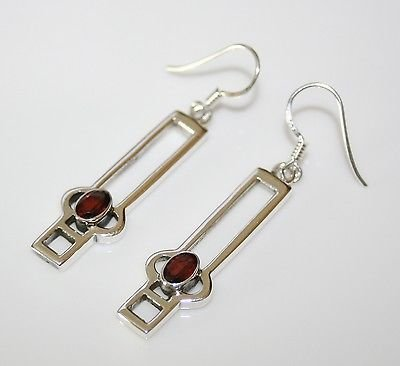HANDCRAFTED RENNIE MACKINTOSH STYLE STERLING SILVER 1CT FACETED GARNET EARRINGS