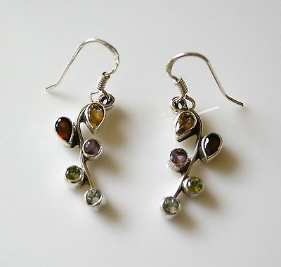 HANDCRAFTED STERLING SILVER MULTI COLOURED GEMSTONE EARRINGS