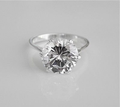 STUNNING STERLING SILVER 12MM 6.5CT ROUND CUT CZ SOLITAIRE RING