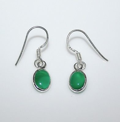 HANDCRAFTED STERLING SILVER 8MM X 6MM GREEN ONYX SMALL OVAL DROP EARRINGS