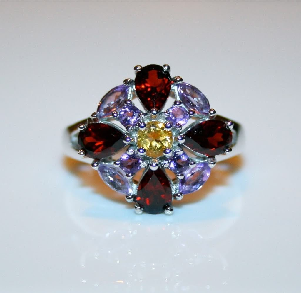 STERLING SILVER AMETHYST, GARNET & CITRINE GEMSTONE RING