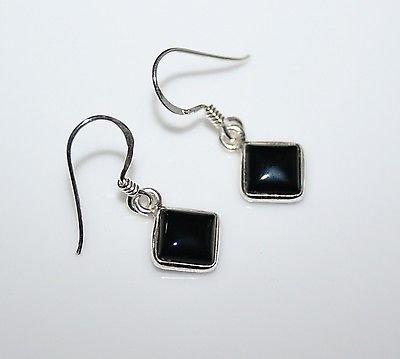 HANDCRAFTED STERLING SILVER 7MM BLACK ONYX GEMSTONE SMALL DROP EARRINGS