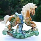 "6 3/4"" GORGEOUS VINTAGE HAND PAINTED GLAZED ROCKING HORSE FIGURINE"