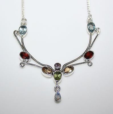 HANDCRAFTED ART NOUVEAU STYLE STERLING SILVER MULTI COLOURED GEMSTONE NECKLACE