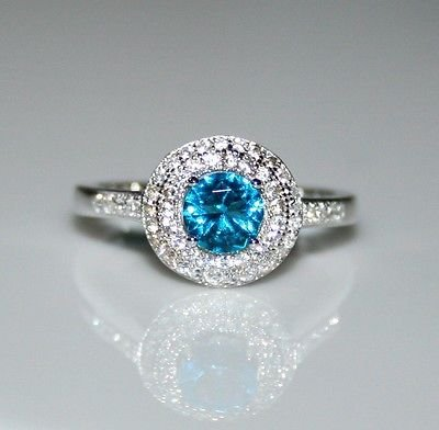 STERLING SILVER 5MM 0.50CT LONDON BLUE TOPAZ CZ SOLITAIRE RING SIZE N
