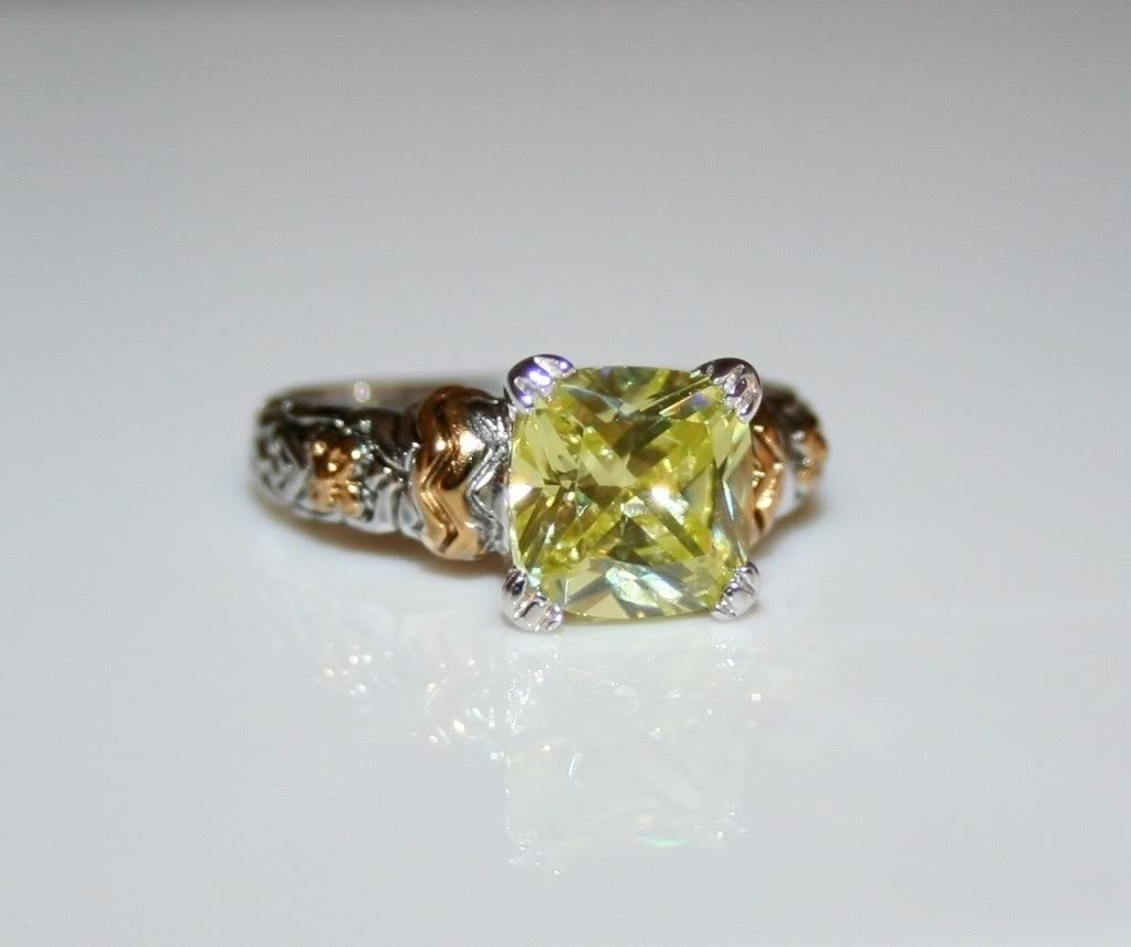 STERLING SILVER CUSHION CUT 8MM 2CT FACETED LEMON CITRINE CZ RING SIZE L