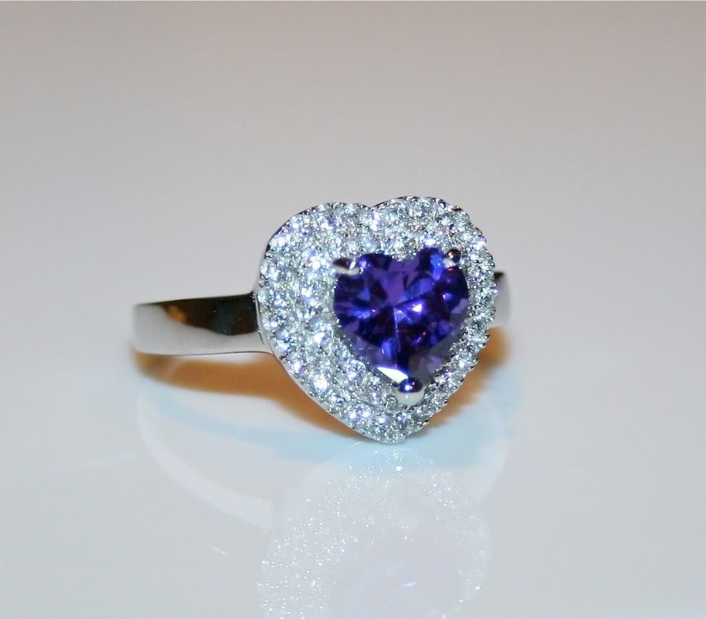 STERLING SILVER HEART CUT 6MM 0.74CT AMETHYST CZ PAVE RING SIZE N