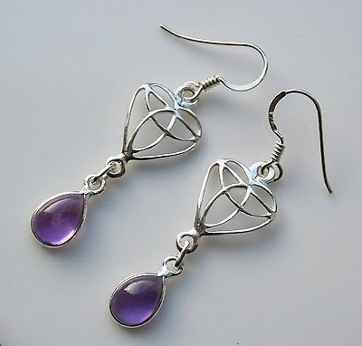 HANDCRAFTED STERLING SILVER ART NOUVEAU STYLE CABACHON AMETHYST GEMSTONE EARRING