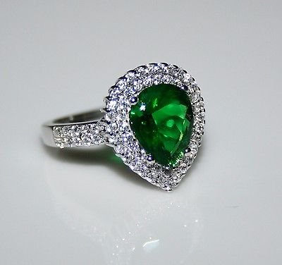 STERLING SILVER 10MM X 8MM 2CT EMERALD CZ SOLITAIRE RING SIZE L US 5 1/2