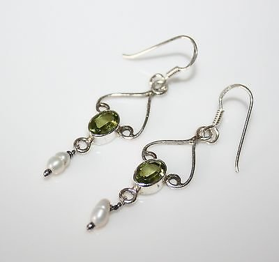 HANDCRAFTED STERLING SILVER PERIDOT & FRESHWATER PEARL EARRINGS *IMPERFECT*
