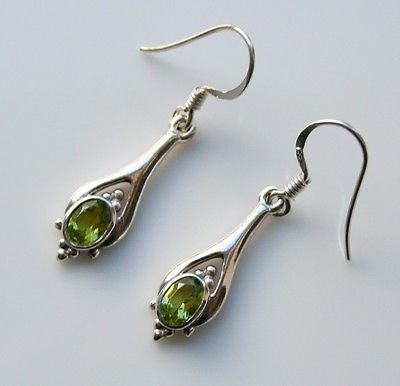 HANDCRAFTED STERLING SILVER FACETED PERIDOT GEMSTONE SMALL DROP EARRINGS