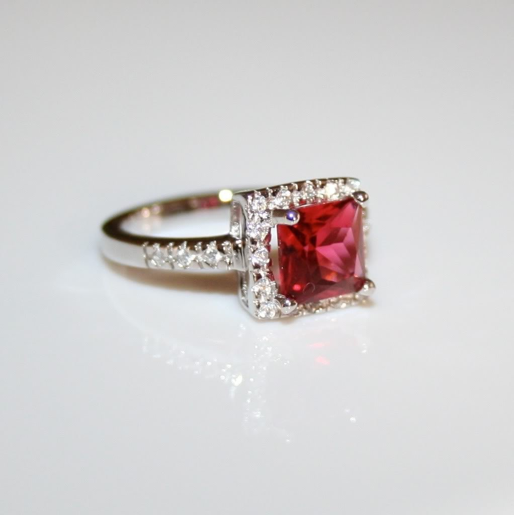 STERLING SILVER 7MM 1.60CT PRINCESS CUT RUBY CZ SOLITAIRE RING