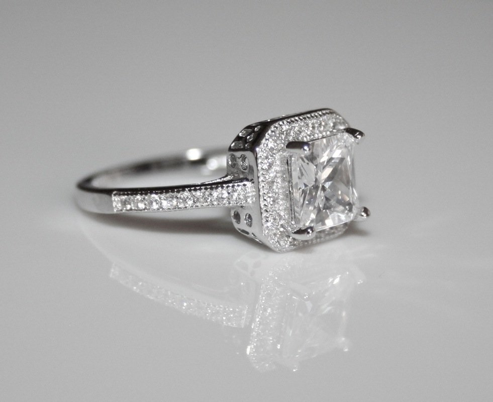 Pretty Sterling Silver 6mm 1.25ct Princess Cut Cz Solitaire Ring