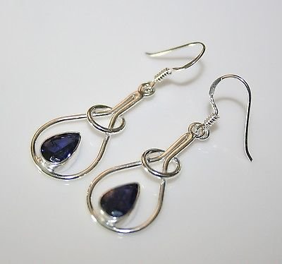 HANDCRAFTED STERLING SILVER ART NOUVEAU STYLE 3CT IOLITE GEMSTONE EARRINGS