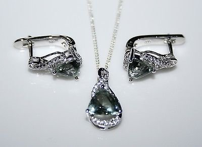 STERLING SILVER 5CT FACETED TRILLION CUT TOURMALINE CZ EARRING & PENDANT SET