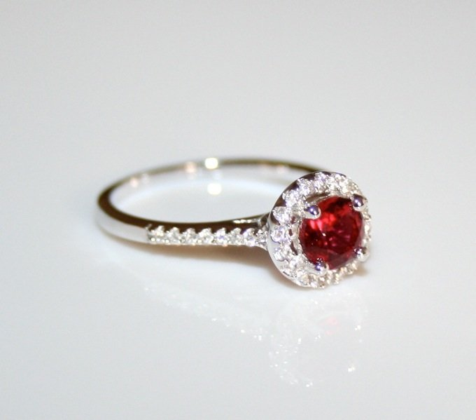 STERLING SILVER 5MM 0.50CT RUBY CZ MICRO SET SOLITAIRE RING