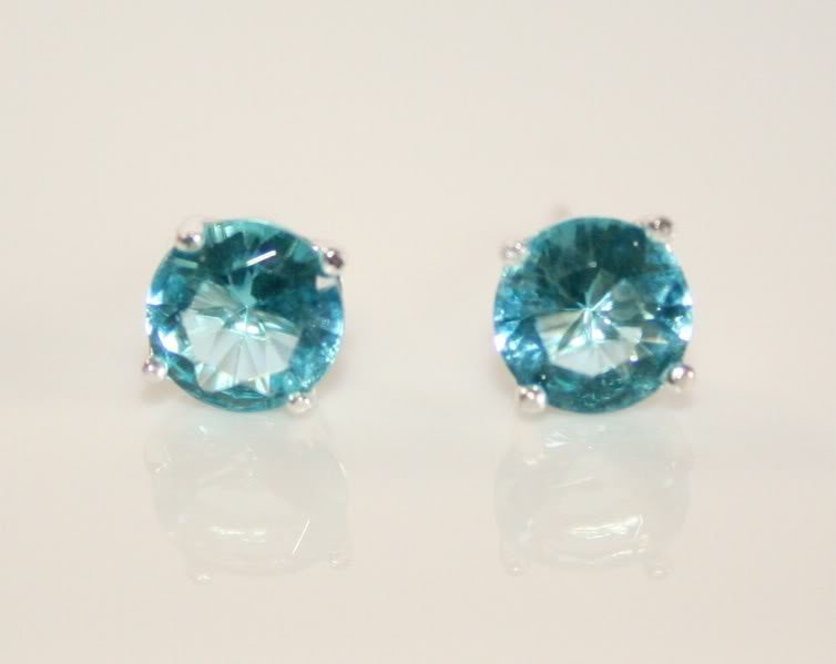 6MM 0.75CT SILVER BLUE TOPAZ CZ SOLITAIRE EARRINGS