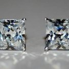 6MM 1.25CT STERLING SILVER SQUARE CZ SOLITAIRE EARRINGS