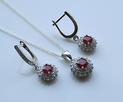 STERLING SILVER 1CT FACETED ROUND CUT RUBY CZ EARRING & PENDANT SET