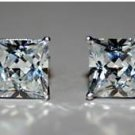 5MM 0.63CT STERLING SILVER PRINCESS CUT CZ SOLITAIRE EARRINGS