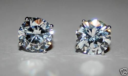 6MM 0.75CT STERLING SILVER ROUND CZ SOLITAIRE EARRINGS