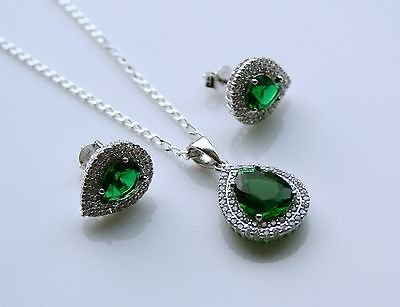 STERLING SILVER 4CT FACETED PEAR CUT EMERALD CZ EARRING & PENDANT SET