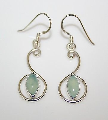 HANDCRAFTED PRETTY STERLING SILVER CHALCEDONY DROP EARRINGS