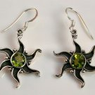 GORGEOUS OXIDISED STERLING SILVER PERIDOT EARRINGS