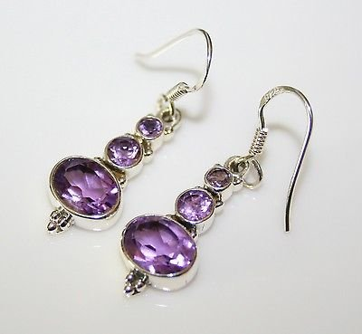 HANDCRAFTED STERLING SILVER  FACETED AMETHYST GEMSTONE DROP EARRINGS