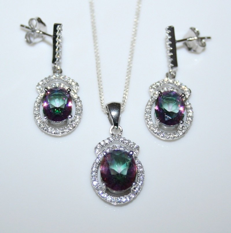 STERLING SILVER 7CT FACETED OVAL CUT MYSTIC TOPAZ CZ EARRING & PENDANT SET