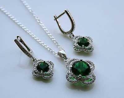 STERLING SILVER 5.25CT FACETED ROUND CUT EMERALD CZ EARRING & PENDANT SET
