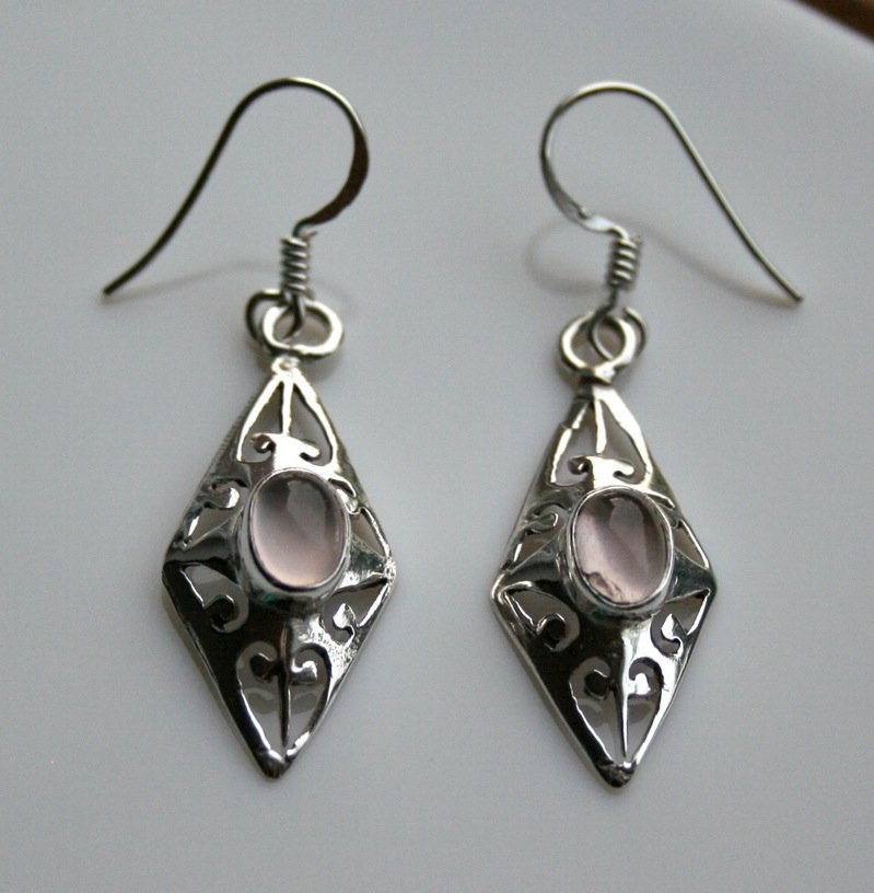 HANDCRAFTED STERLING SILVER AND ROSE QUARTZ GEMSTONE DROP EARRINGS