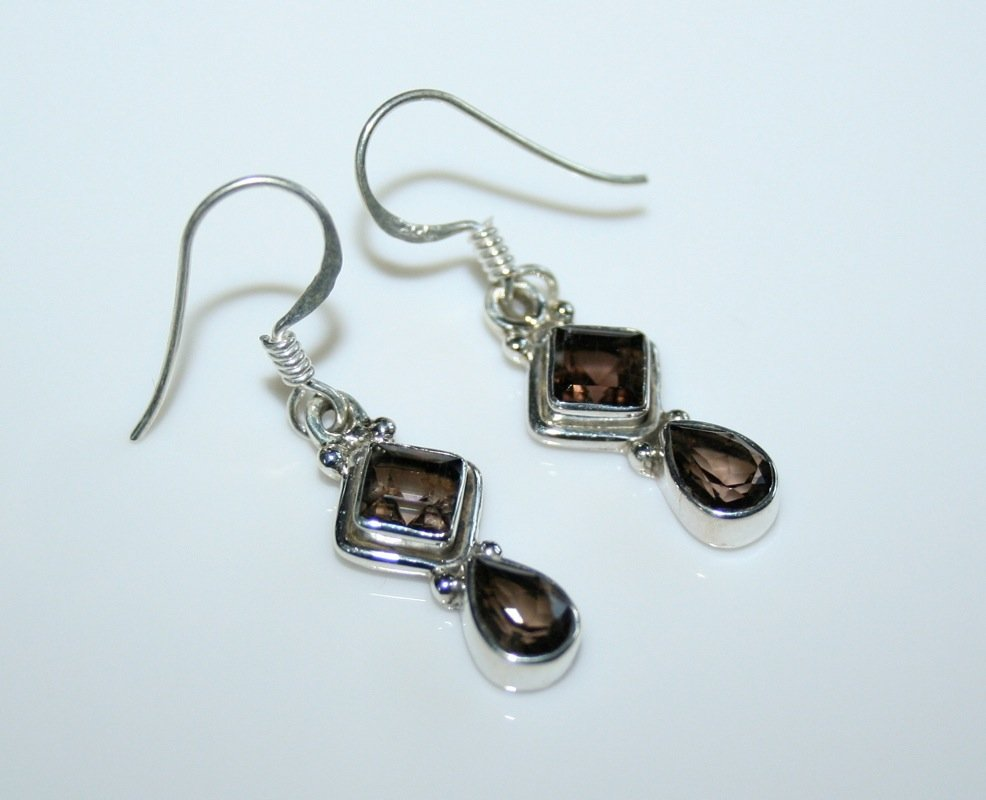 HANDCRAFTED STERLING SILVER FACETED SMOKY QUARTZ GEMSTONE DROP EARRINGS