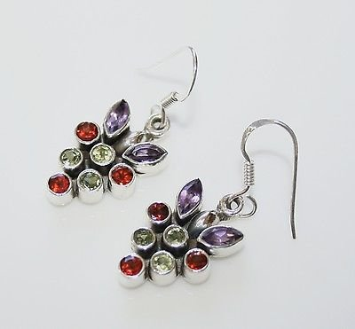 HANDCRAFTED STERLING SILVER  MULTI COLOURED GEMSTONE DROP EARRINGS