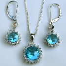 GORGEOUS SILVER CZ BLUE TOPAZ EARRING & PENDANT SET