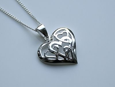STERLING SILVER ENTWINED HEARTS PENDANT & CHAIN